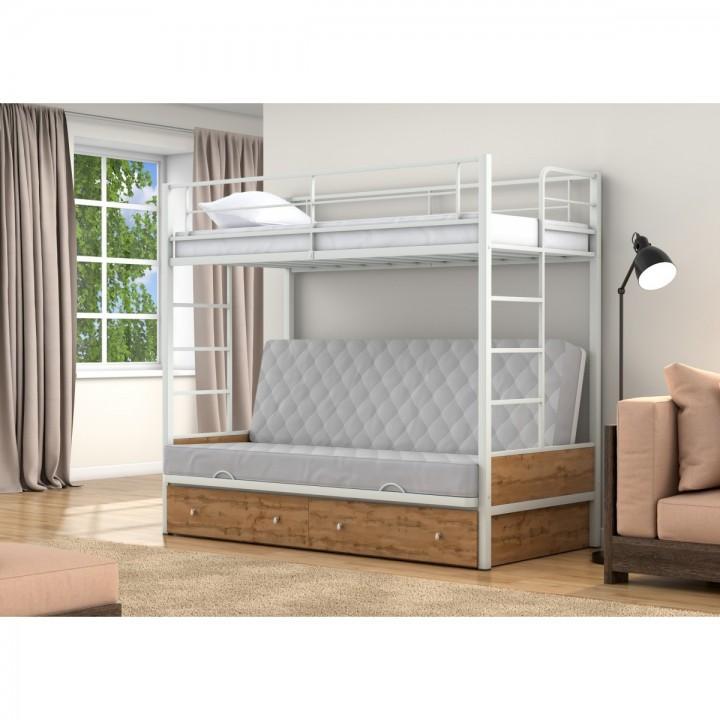 Двухъярусная кровать-диван 4 Сезона Дакар 1 с ящиками