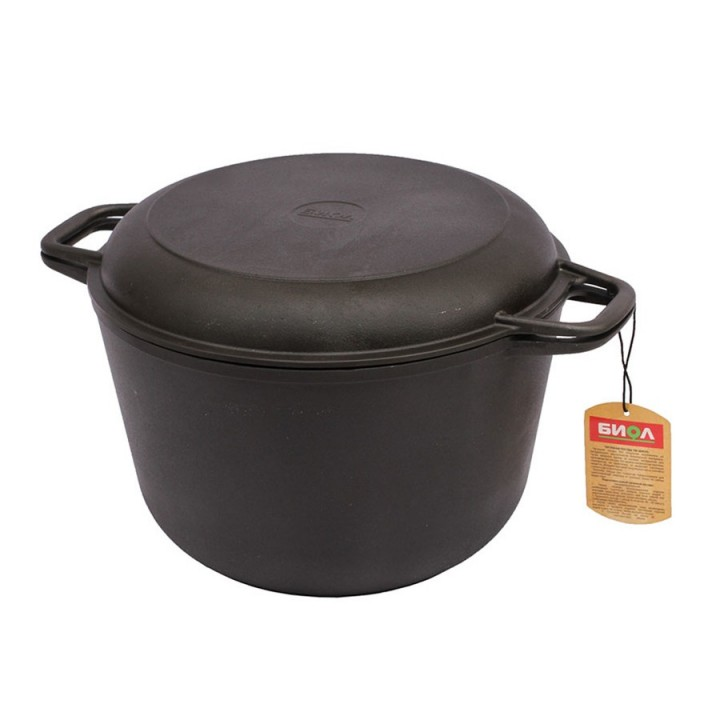 Кастрюля чугунная с крышкой-сковородой 4л Биол 0204