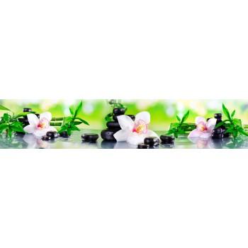Кухонный фартук Белые орхидеи и бамбук