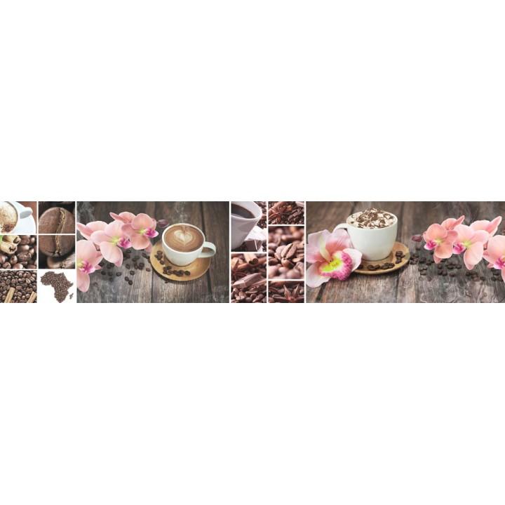 Кухонный фартук Кофе и орхидеи