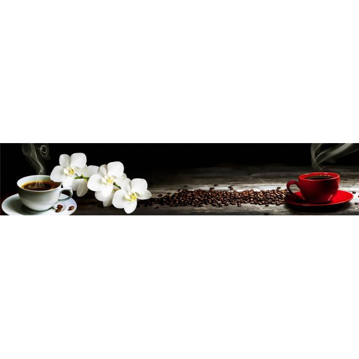 Кухонный фартук Белая орхидея и кофе
