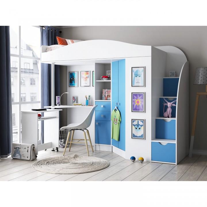 Кровать-чердак Формула мебели Теремок-1 Гранд белый