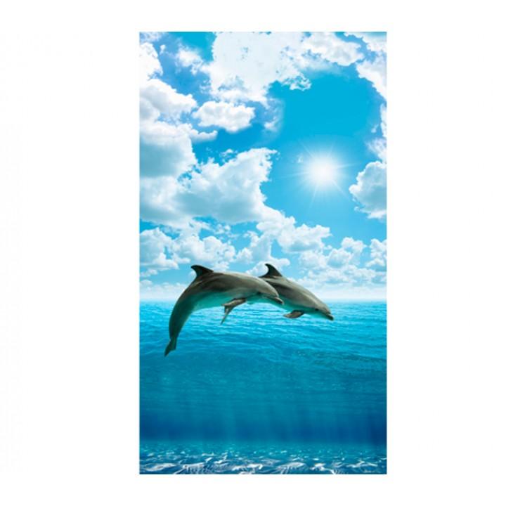 Панно из ПВХ-панелей с цифровой печатью Два дельфина