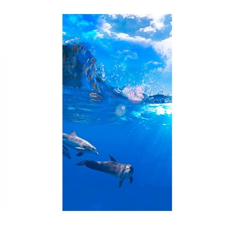 Панно из ПВХ-панелей с цифровой печатью Дельфины