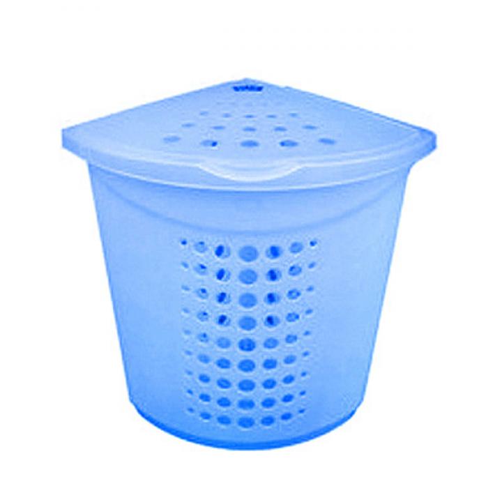 Корзина для белья 45л голубой перламутр Эккопласт 2836