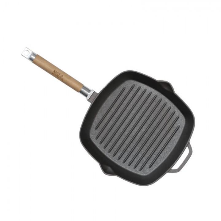 Сковорода-гриль чугунная со съемной ручкой 26х26 Биол 1026