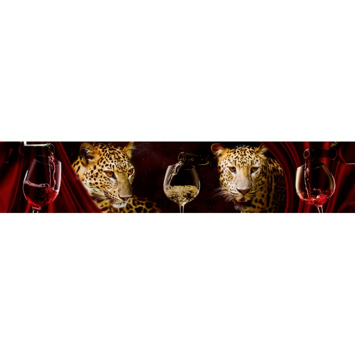 Кухонный фартук Вино и леопард