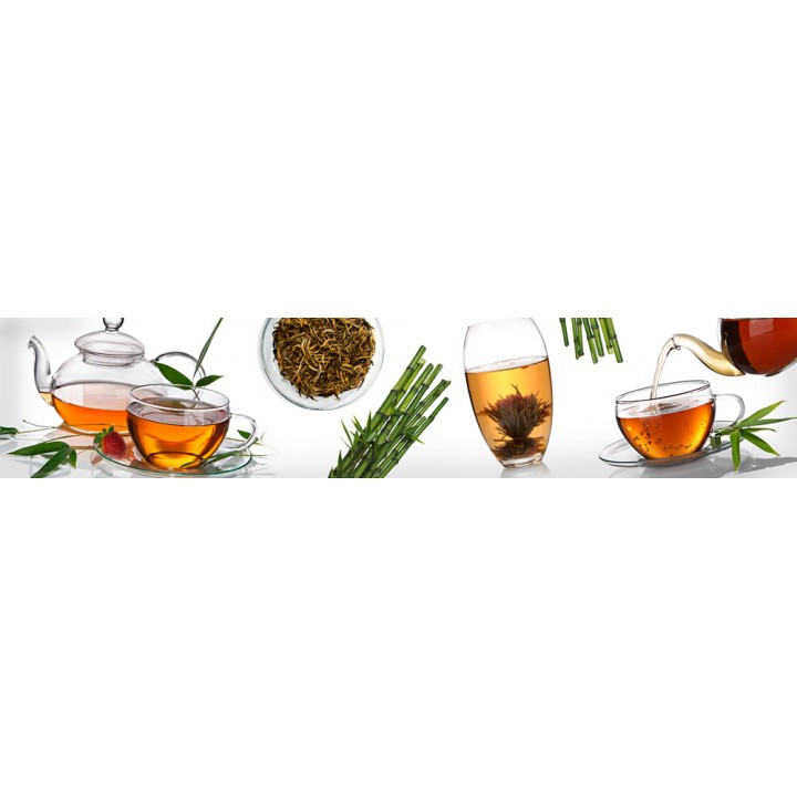 Кухонный фартук Чай на белом