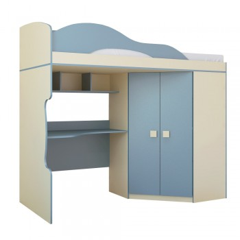 Кровать-чердак со шкафом Горизонт Радуга