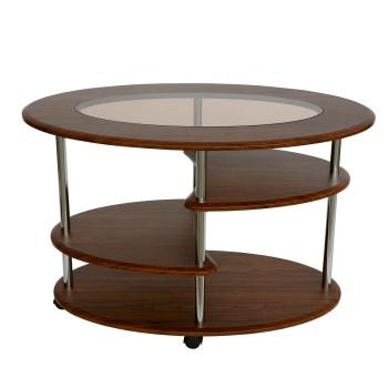 Журнальный столик Калифорния Мебель Эллипс со стеклом