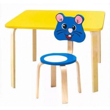 Комплект детской мебели Polli Tolli Мордочки с желтым столиком